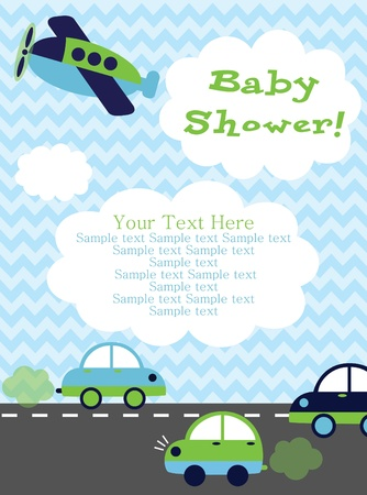 baby announcement card: baby shower card design. vector illustration