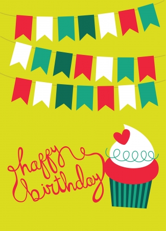 happy birthday card with fun muffin. vector illustration Vector