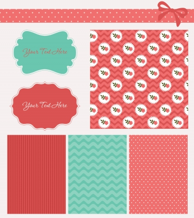 cute pattern collection and frames. vector illustration