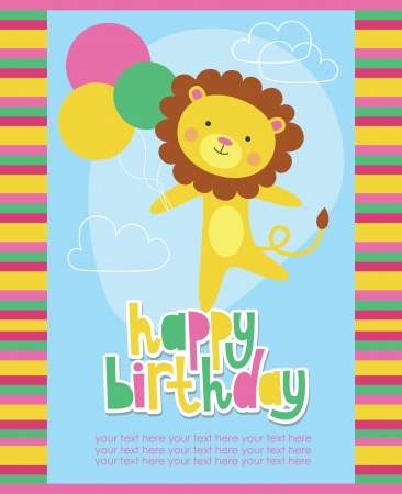 happy birthday card design with cute lion. vector illustration Vector