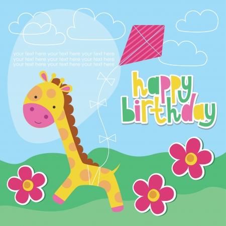 jirafa cute: feliz dise�o de la tarjeta de cumplea�os con jirafa linda. ilustraci�n vectorial