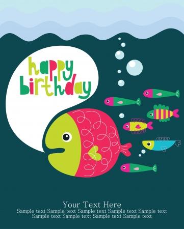 underwater birthday card design. vector illustration Vector
