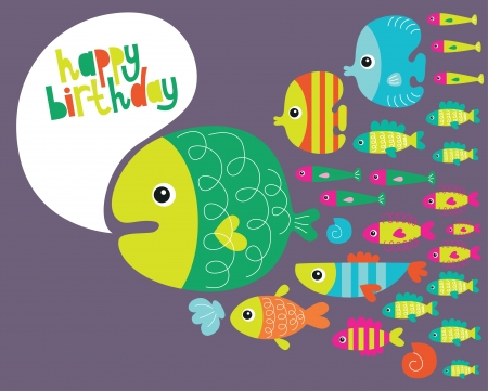underwater birthday card design. vector illustration Vector