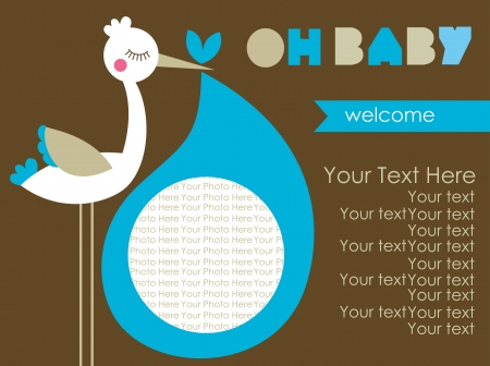 stork: oh baby card design. vector illustration Illustration