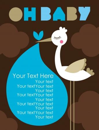 cicogna: oh card design bambino. illustrazione vettoriale