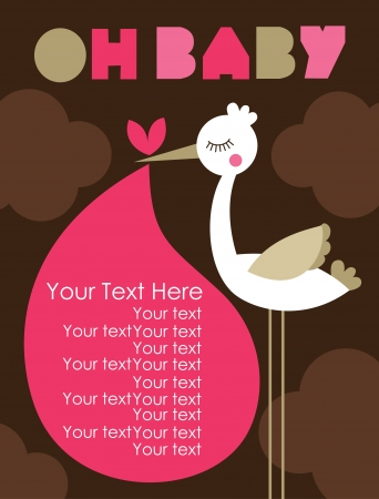 cigogne: oh conception de carte de bébé. illustration vectorielle