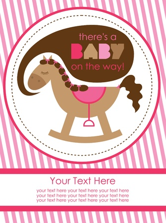 baby toy: baby shower design, cute toy horse. vector illustration