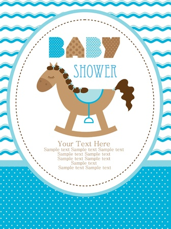 baby boy shower: baby shower design, cute toy horse. vector illustration