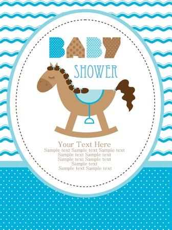 welcome party: dise�o de la ducha del beb�, caballo lindo juguete. ilustraci�n vectorial Vectores