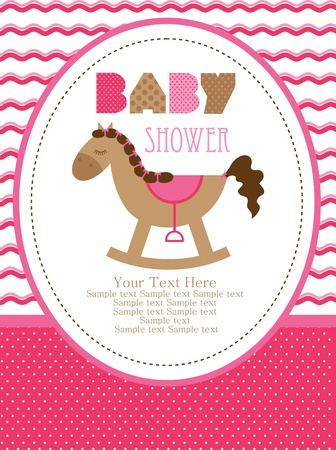 cute baby girls: baby shower design, cute toy horse. vector illustration