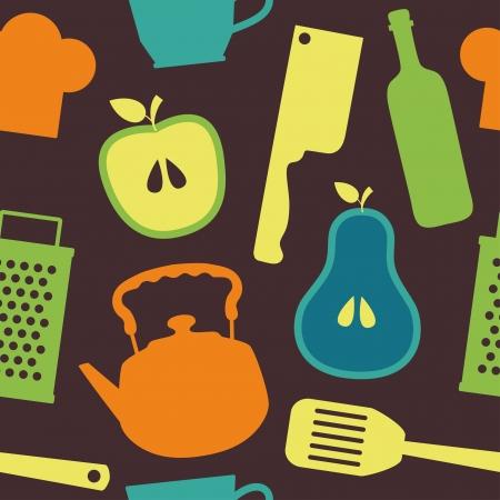 seamless kitchen pattern vector illustration