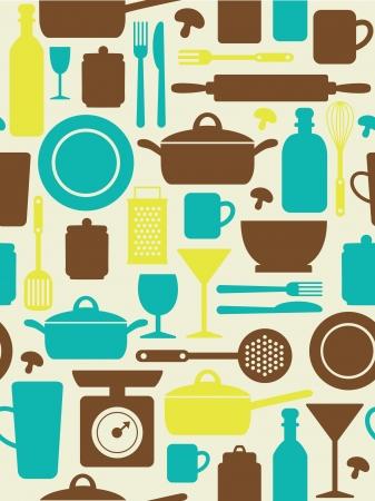 kitchen utensils: seamless kitchen pattern  vector illustration