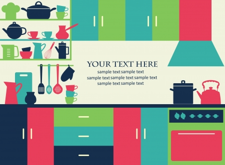 interior: cute kitchen pattern  vector illustration Illustration