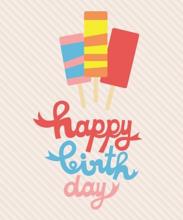 happy birthday card with ice cream  vector illustration Stock Vector - 22720422