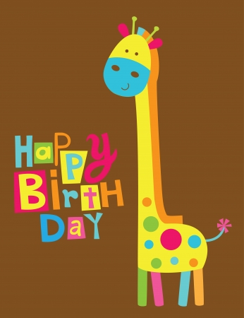 cute happy birthday card with fun giraffe.  Vector