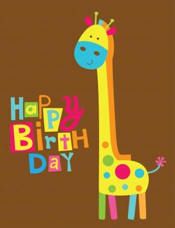 c cute: tarjeta linda del feliz cumpleaños con jirafa diversión.
