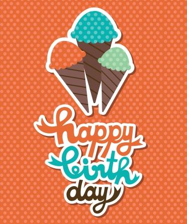 cute happy birthday card with cupcake  vector illustration Vector