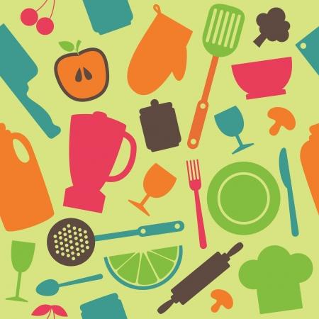 シームレスなキッチン パターン ベクトル図  イラスト・ベクター素材
