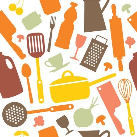 eating utensil: seamless kitchen pattern  vector illustration