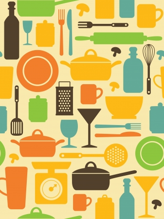 cooking ware: seamless kitchen pattern  vector illustration