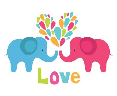 cartoon summer: cute elephant in love  vector illustration