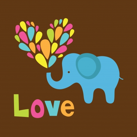 siluetas de elefantes: elefante lindo en el amor ilustraci�n vectorial