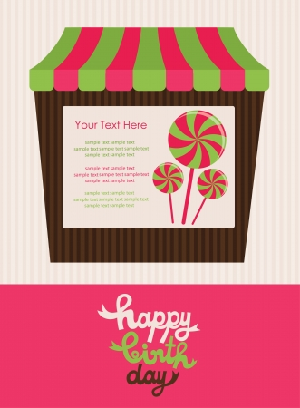 candy shop: sweet happy birthday card  vector illustration Illustration