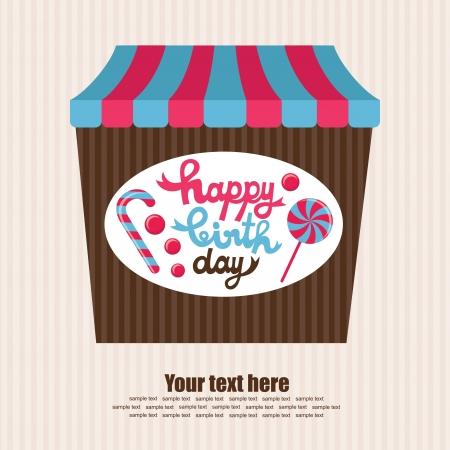 sweet happy birthday card  vector illustration Stock Vector - 22729599