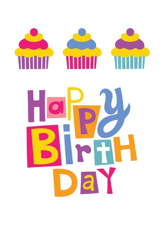 cute happy birthday card with cupcake.  Vector