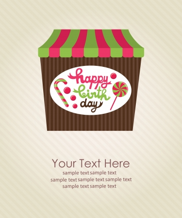 candy background: sweet happy birthday card  vector illustration Illustration