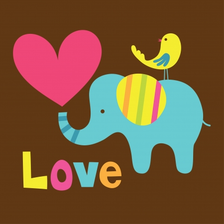 cute elephant in love  vector illustration Vector