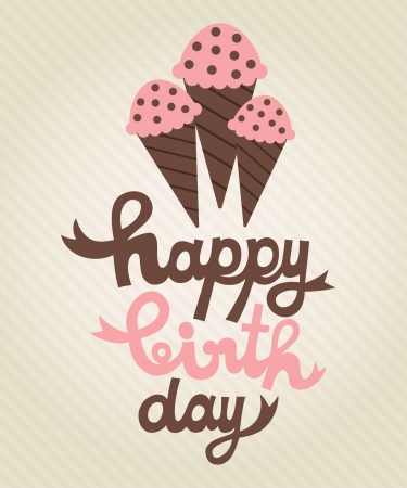 cute greeting card with ice cream  vector illustration Vector