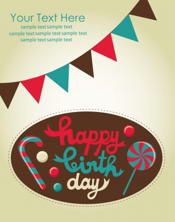 sweet happy birthday card  vector illustration Stock Vector - 22734215