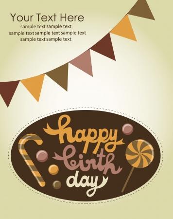 sweet happy birthday card  vector illustration Stock Vector - 22734216