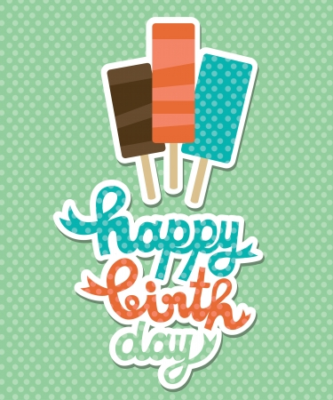 ice cream stand: happy birthday card with ice cream  vector illustration Illustration