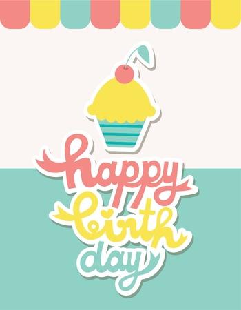 happy birthday card  vector illustration Vector
