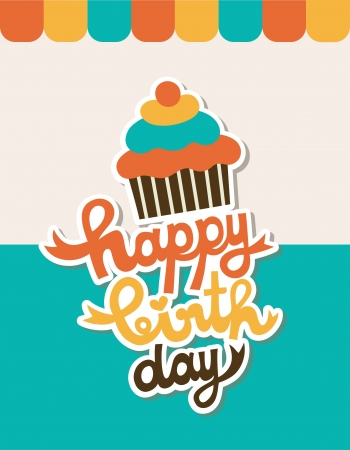honey cake: cute happy birthday card with cupcake  vector illustration Illustration