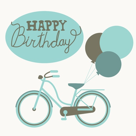 greeting card with cute bike  vector illustration Vector