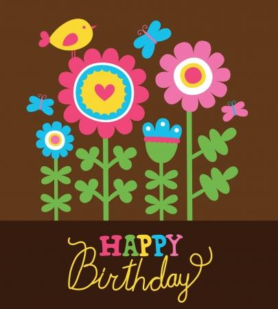 flores de cumpleaños: tarjeta de feliz cumpleaños linda.