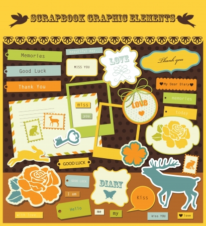 diary background: cute scrapbook elements  vector illustration