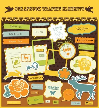 album: cute scrapbook elements  vector illustration