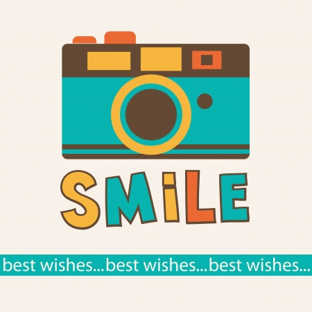 best wishes: cute card with camera  vector illustration Illustration