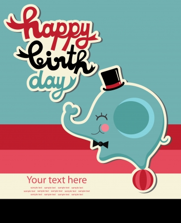 birthday party: cute happy birthday card with elephant  vector illustration
