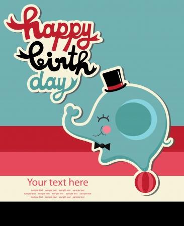 happy birthday party: tarjeta de feliz cumplea�os linda con el elefante ilustraci�n vectorial
