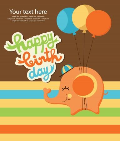 happy birthday girl: cute happy birthday card with elephant  vector illustration