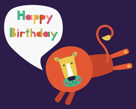 whimsical lion happy birthday card design. Vector
