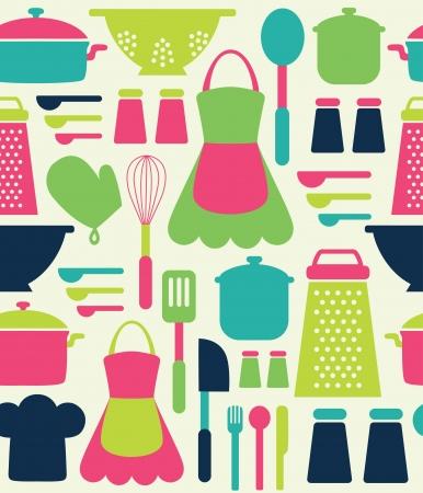 seamless kitchen pattern. Vetores