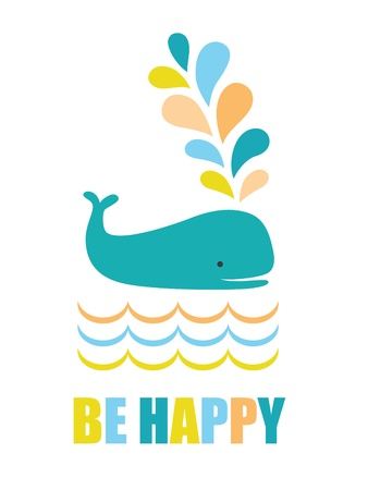 be happy: be happy card design.  Illustration