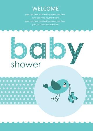 nido de pajaros: Bienvenido beb� tarjeta de ilustraci�n vectorial de dise�o