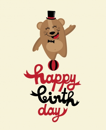 angel birthday: cute happy birthday card with nice bear  vector illustration